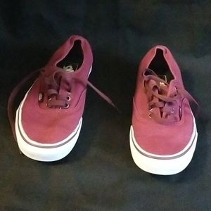 Low Top Burgundy Van's Mens Size 8 Women Size 10